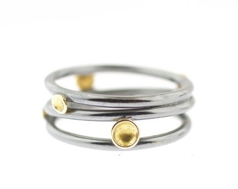 Lichen Tornado Three Band Sterling Silver 18K Gold Recycled Metal