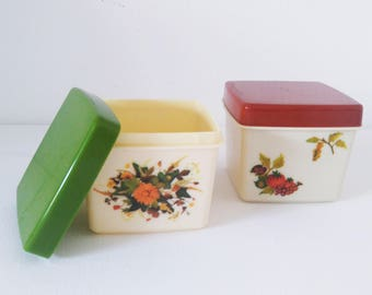 Set 2 Vintage Plastic Boxes made in Belgium,  Kitchen Boxes 1970