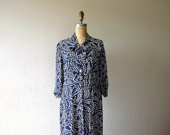 1940s polka dot dress . vintage 40s rayon dress