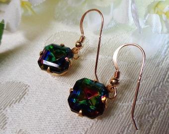 Vitral Medium Crystal Square Octagonal Drop Dangle Earrings Vintage Swarovski Glass
