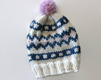 Knit fair isle hat, pom pom hat Hand Knit Beanie, Cream, Denim blue, pink beanie, chunky woman hat, wool hat, winter accessory, warm hat