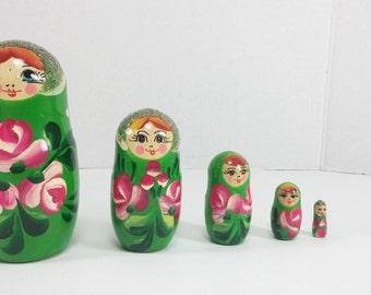 Nesting doll Russian matryoshka babushka Green