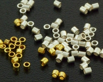 100 - Crimp Tubes - Silver Plated or Gold Plated Brass in 4 Sizes - Best Commercially Made - 100% Guarantee