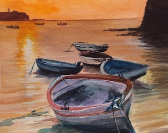 Sunset Boats Ocean Beach view ART original Watercolor Painting Ocean Watercolor Handmade Painting