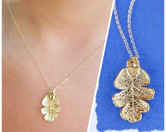 Gold dipped OAK Leaf necklace, Real leaf jewelry, fall wedding, Autumn wedding, botanical jewelry, gold leaf necklace, fall leaves, otis b