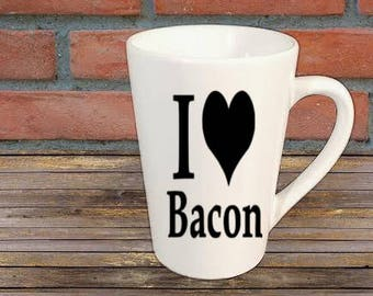 I Love Bacon Funny Mug Coffee Cup Gift Home Decor Kitchen Bar Gift for Her Him Any Color Personalized Custom Jenuine Crafts