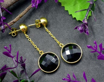 Natural Black Onyx Round Gemstone Chandelier Earring 925 Sterling Silver E411