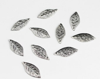 Antique Silver Leaf Charms - 10 Pieces