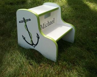 preppy nautical anchor step stool