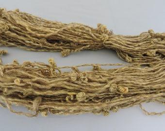 Handspun Kid Mohair Novelty Art Yarn Knots  Gold Brown 18-3-3