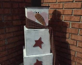 Handmade wooden stacking box snowman
