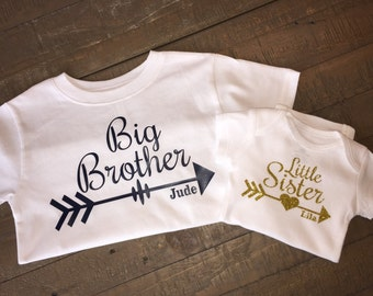 Big Brother Little Sister Arrow Shirt Set - with customizable lettering color