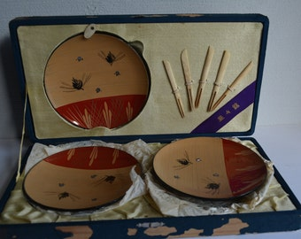 Set of 5 lacquered dishes, small sweets plates, Japanese urushi lacquerware