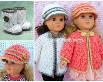 Crochet Pattern 3 PC Set for 18 in Doll Crochet Patterns Jacket Boots Hat for American Doll 18 inch Dolls Sweater Christmas Gift for Girl