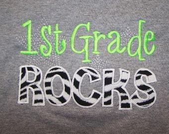 First Grade Rocks School Shirt First Grade Rocks Tshirt Zebra Print and Lime Green