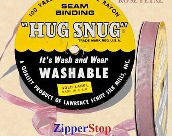 "ROSE PETAL 209  - Hug Snug Seam Binding - 100 yard roll 1/2"" Wide - 100% Woven-Edge Rayon - Schiff"