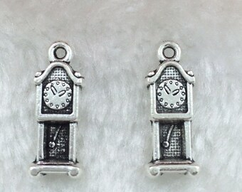 10 Grandfather Clock Charms Rustic Antique Silver Tone Vintage Look Mini Clocks Cogsworth Haunted Mansion Dollhouse Charm 7x20 mm