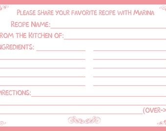 "75 Personalized Recipe Cards -  Classic Pink - 4x6"" Size"