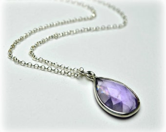 Amethyst necklace, Sterling silver 925, Teardrop necklace, Purple necklace, February birthstone, Amethyst pendant, Bridesmaid jewelry gift