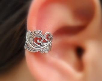 Sterling Silver Ear Cuff - Lace - Fake Piercing - Faux Piercing - Fake Conch Piercing - Non Pierced - Conch Cuff - Silver Cuff - Ear Wrap