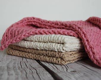 Mini size baby blanket, newborn photo prop, natural cotton baby blanket, layering girl blanket, hand knitted small blanket, newborn girl