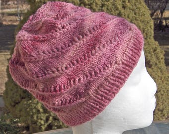 Spiral Watch Cap Roseblush Pink/Creamy White & Brown/White with Gray
