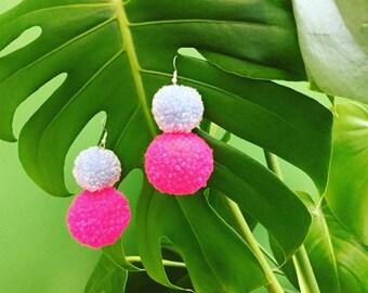 Block Blue & Pink Twin PomPom Earrings