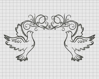 Dove Bird Frame Embroidery Design in 5x7 and 6x10 Sizes