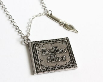 Once Upon A Time Book and Author's Pen Long Necklace (OUAT)
