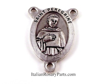 St Peregrine Premium Oval Rosary Center Medal Patron Saint of Cancer Patients | Italian Rosary Parts