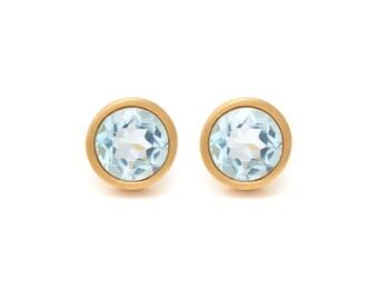 Sky Blue Topaz Stud Earrings - Gemstone POP Stud Earrings - Sky Blue Topaz in Yellow Gold - 18k Gold Vermeil - Studs