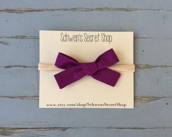 Plum fabric bow, hand tied bow, baby girl headband, baby hair bow, nylon headband, baby headband, school girl bow, infant headband