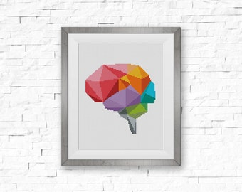 BOGO FREE! Geometric Brain Cross Stitch Pattern, Human Brain x-Stitch Chart, Human Anatomy Modern Decor, PDF Instant Download #025-15-2