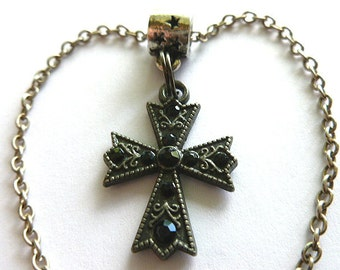 BLACK Jet CRYSTAL Cross, Vintage Assemblage Maltese Cross & Neck Chain, Black Crystal Cross Necklace, Black Silvertone Vintage Pendant