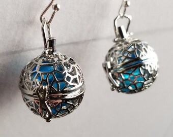 Caged Earrings with Blue Glass