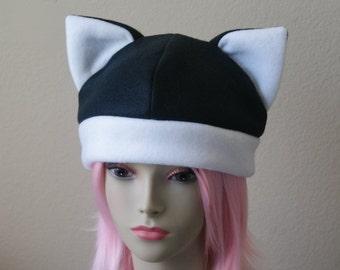 Fleece Cat Hat / BLACK + WHITE Beanie Style Cap Cute Anime Neko Cosplay Cat Ears Kitty Ears Kawaii Japanese Fashion