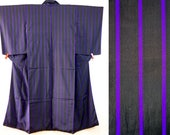 Black purple stripe kimon...