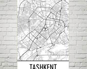 Tashkent Map, Tashkent Art, Tashkent Print, Tashkent Uzbekistan Poster, Uzbekistan Wall Art, Uzbek Gifts, Map of Uzbekistan, Uzbekistan Art