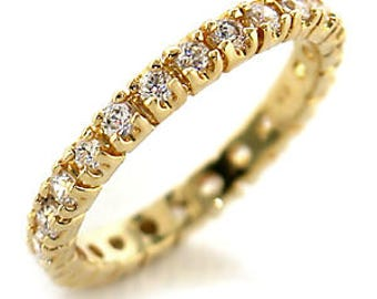 Ring - ref45202-gold plated - set CZ 360 degrees
