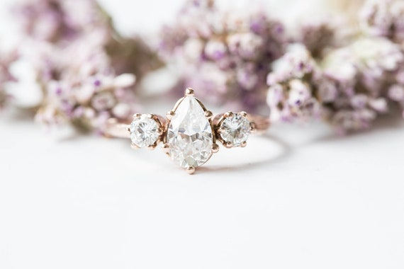Pear moissanite three stone twig engagement ring, 14k gold pear engagement ring, alternative engagement ring, twig engagement ring,