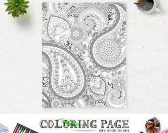 Adult Printable Coloring Page Paisley Pattern Printable Coloring Book Adult AntiStress Art Therapy Instant Download Zen Digital Art Download