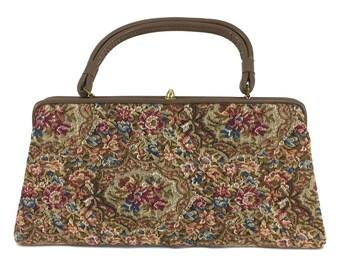 vintage 1960's floral tapestry purse / Dover / carpet bag / needlepoint petit point / granny bag / vintage purse / vintage handbag