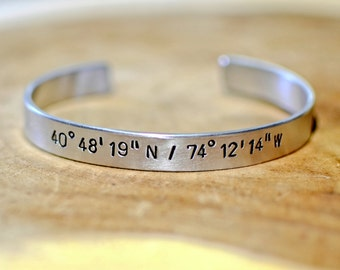 Latitude longitude aluminum cuff bracelet for you to personalize with your coordinates - BR555