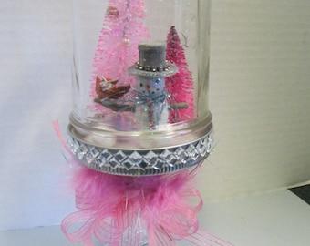 Christmas Mason Jar waterless snowglobe handmade snow man christmas diorama, trimmed in bling and pink ribbon bow