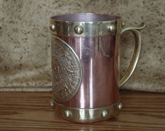Copper and Brass Mug with Aztec Sun Calendar and Studded Rim Design