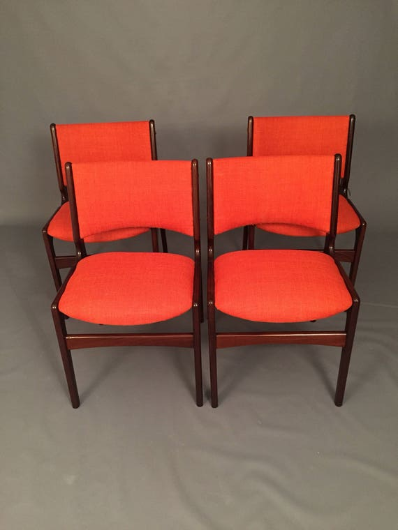 4 Danish Mid-Century Dinning chairs with new orange fabric