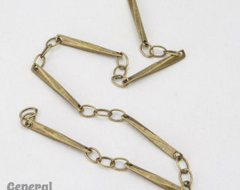 15mm x 1.7mm Antique Brass Twisted Bar Link Chain #CCE212