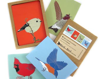 Box of  Songbird Note Cards | 2 Each of 4 Designs | Printed on Recycled Paper | blank notecard greeting card cardinal bluebird hummingbird
