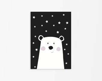 Black and White Polar Bear Print, Nursery Polar Bear, Nursery Black and White Decor,Polar Bear Art poster,Animal Print,Bear Illustration
