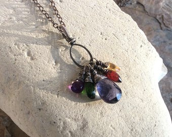 Chrome DIOPSIDE, IOLITE, GARNET, Citrine, and Amethyst Charm necklace, sterling silver, multi gemstone handmade jewelry by Angryhairjewelry